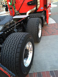 Photo of truck tires.