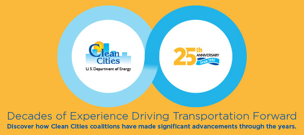 An image showing the Clean Cities logo and the Clean Cities 25th anniversary graphic joined by an infinity shape on a yellow background.