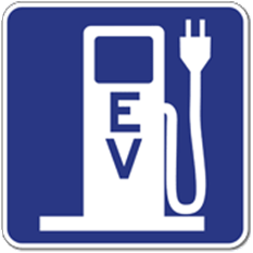 Image of fuel pump with a plug indicating EV plug-in station