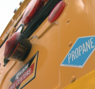 Photo of rear bumper of school bus with propane logo.