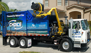 Photo of a refuse truck. Side of truck reads, Choice, powered by natural gas.