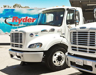 Photo of large truck with Ryder logo.
