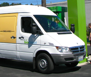 An Essential Baking cargo van fills up at a Propel Fuels biodiesel station in Seattle Washington. <em>Photo from Propel Fuels, NREL/PIX 21775</em>