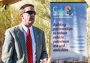 Arizona Secretary of State Ken Bennett speaks at the grand opening of the Picacho Peak charging station.