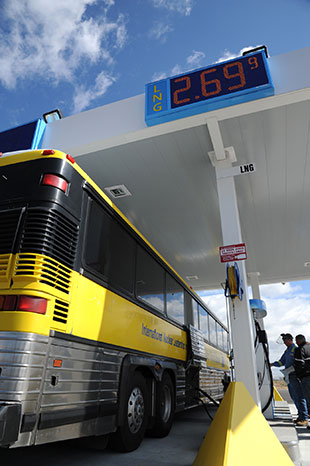 Photo of a bus at a fueling station
