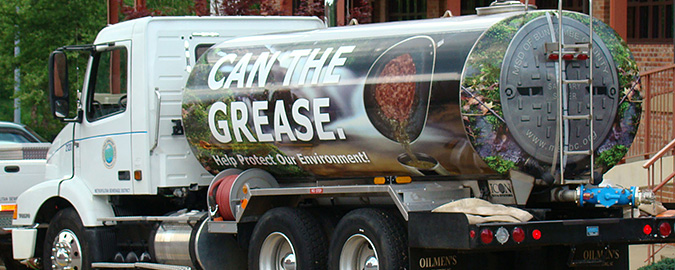 A photo of an old fuel oil delivery truck into a biodiesel-fueled water tanker. The utility has wrapped the truck in messaging that encourages customers to stop disposing of grease down the drain.