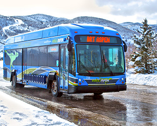 Photo of a royal blue compressed natural gas bus that has a green raptor painted on the side, driving through the snowy mountains.